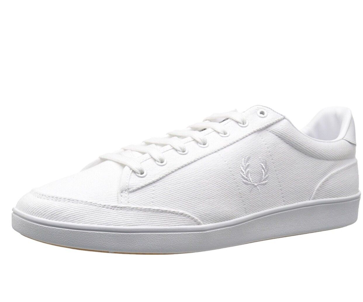Fred Perry Mens Hopman Twill   Leather shoes Trainers B8248-100 - White