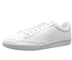 White Fred Perry Men/'s Spencer Canvas Shoes Trainers B7523-200