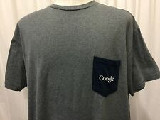 Rare GOOGLE Brand Employee T-SHIRT Size XXL Pocket Heavy Soft Cotton Gray Blue