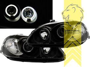 LED-Angel-Eyes-Scheinwerfer-fuer-Honda-Civic-6-Hatchback-Coupe-Limousine-schwarz