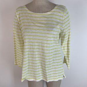 J-Crew-Woman-shirt-size-Extra-large-green-striped-knit-Cotton