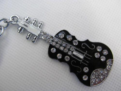 LARGE BLACK ELECTRIC DIAMONTE GUITAR ENAMEL METAL KEYRING GIFT CHARM UK SELLER