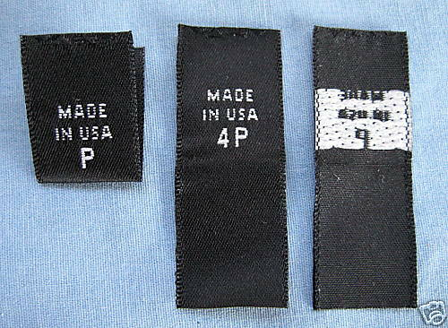 140 WOVEN LABELS, MADE IN U.S.A. P,2P,4P,6P,8P,10P,12P