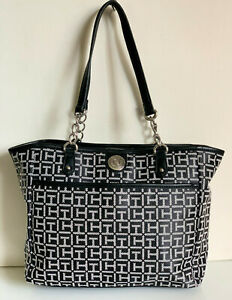 NEW-TOMMY-HILFIGER-BLACK-NATURAL-MEDIUM-SHOPPER-SATCHEL-TOTE-BAG-PURSE-89-SALE
