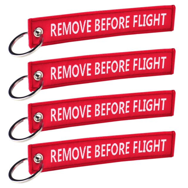 5PCS Embroidery Remove Before Flight Key Chain Luggage Tag Zipper Woven  Keychain c902049425