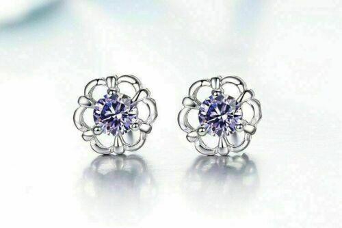 Woman Gift White Purple Eternal Flower Sterling 925 Silver Stud Earrings YS326
