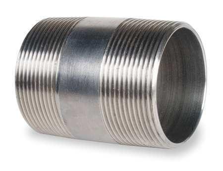 "ZORO SELECT 1WZZ4 3//8/"" MNPT x 2/"" TBE Stainless Steel Pipe Nipple Sch 40"
