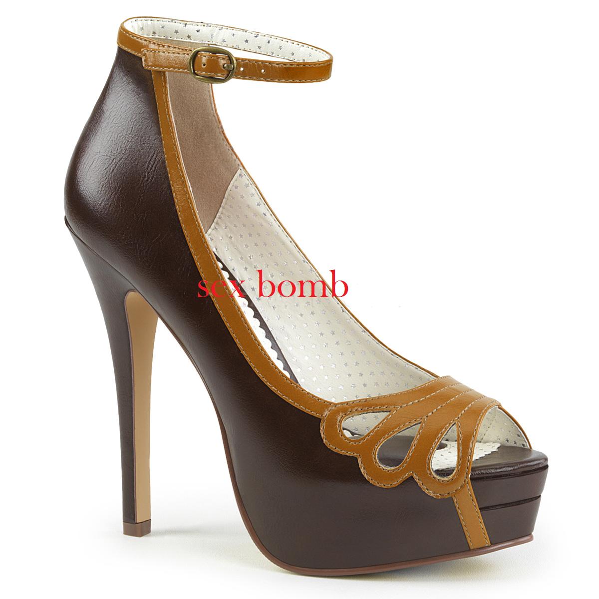 Sexy zapatos DE DE DE SALÓN PERNO HASTA talón 13,5 35-41 MARRÓN plataforma zapatos 877e0a