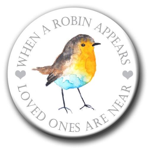 MIRROR PERSONALISED IN LOVING MEMORY RIP ROBIN BADGE FRIDGE MAGNET