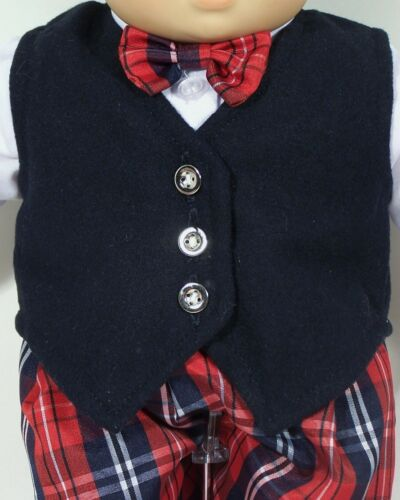"""Debs Plaid Boy Suit Shirt Bow-Tie Vest Shorts Doll Clothes For 15/"""" Bitty Baby"""