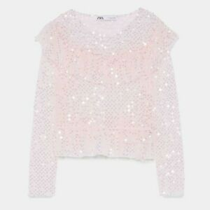 ZARA-WOMAN-NWT-SALE-PINK-RUFFLED-SEQUINNED-TOP-SIZE-M-REF-9598-135