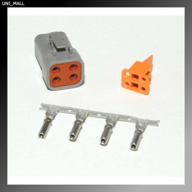 Deutsch DTP 4-Pin Flange Connector Kit 12-14 AWG Solid Contacts