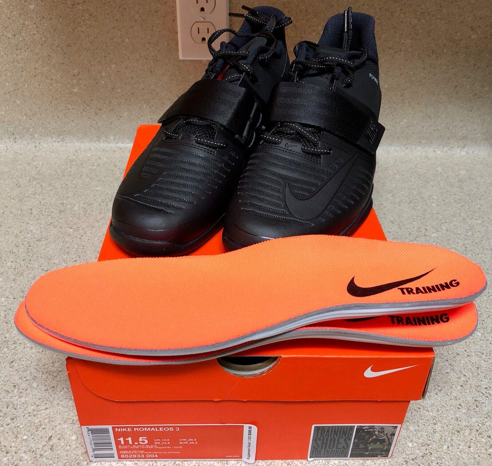Para hombre NIKE ROMALEOS 3 Crossfit Entrenamiento Zapatos de Halterofilia 11.5 Negro 852933-004