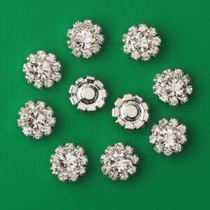 10Pcs Rhinestone Pearl Flower Embellishments Flatback Buttons DIY 12mm New