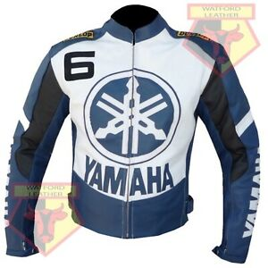 YAMAHA-6-BLUE-MOTORCYCLE-MOTORBIKE-BIKERS-COWHIDE-LEATHER-ARMOURED-JACKET