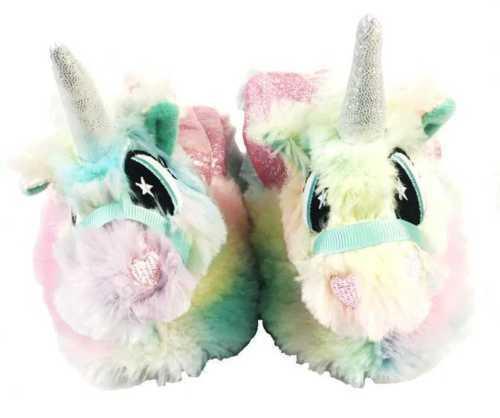Childrens Unicorn Or Llama 3D Slippers Soft Plush Slip on Grip Soles Kids 0494//3