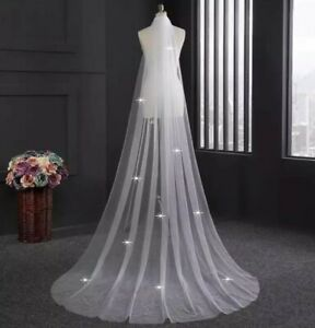UK-White-Ivory-1-Tier-Crystal-2M-or-3M-Wedding-Veil-Cut-Edge-With-Comb