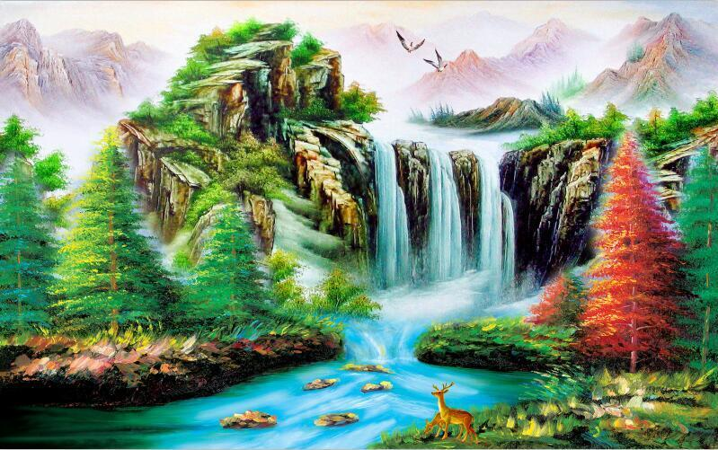 3D Natural forest scenery Wall Paper Print Decal Wall Deco Indoor wall Mural