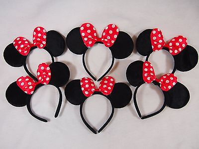 6 Lot Black Minnie Mouse w// Red Big Polka Bow Ears Headband Princess Birthday