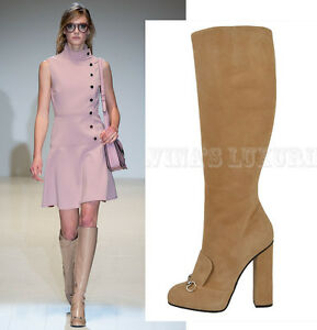 9e1ae8456d4319 Image is loading 1-595-GUCCI-BOOTS-LILLIAN-TALL-BEIGE-SUEDE-