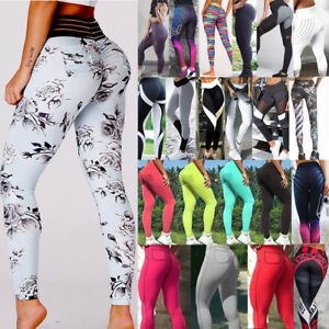 Women-Yoga-Fitness-Leggings-Floral-Wrokout-Push-Up-Sports-Pants-Jogging-Trousers