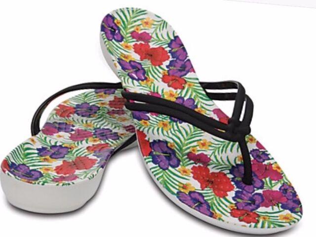9ddde4cd Crocs Isabella Graphic Women's Black/floral Thong Flip Flop Sandals Size 11
