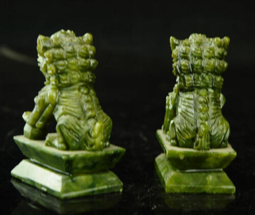 Rare A pair 100/% China natural jade hand-carved statues fo dog lion