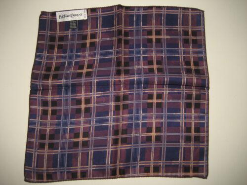 "$140 NEW Men Yves Saint Laurent YSL Navy Blu Silk Handkerchief Pocket Square 13/"""