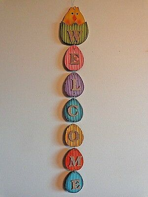 "EASTER WELCOME Wall Hanging 33"" COLORED EGGS AND CHICK Distressed Wood"