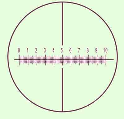 Microscope Calibration Slide objective Micrometer cross reticle scale  D=27mm