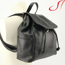 Damen echt Leder Rucksack Schwarz Backpack Lederrucksack Italien Nappaleder NEU