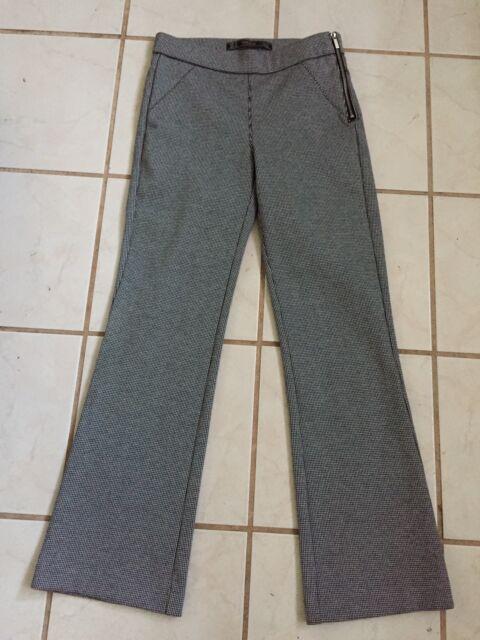 63bd8845 ZARA Trafaluc NEW! Black/White Plaid Viscose Knit Ankle Flare Stretch Pants  XS