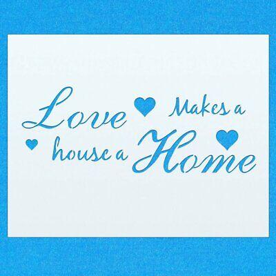 Love hace una Casa un Hogar Vintage Shabby Chic De Mylar Pintura Pared stencil Art