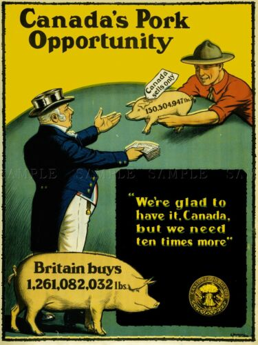 PROPAGANDA INDUSTRY AGRICULTURE PORK PRODUCTION CANADA WAR WWI POSTER LV3701