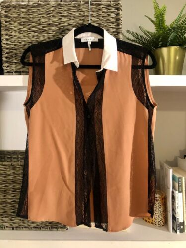 Size S Peach Sandro Silk Button Down Blouse with B