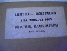 1 -NOS G749 - M135, M211 series, G508 CCKW, G501 DUKW Engine Overhaul Gasket Set