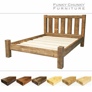Solid Timber Chunky Wooden Bed Frame With Storage Room And Headboard All Sizes Ebay