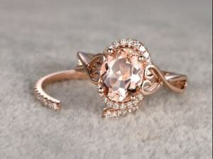 8-10-Oval-Cut-Morganite-Vintage-Solitaire-Engagement-Ring-18K-Rose-Gold-Finish