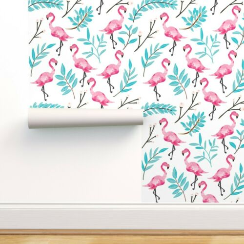 Peel-and-Stick Removable Wallpaper Flamingo Tropical Palm Leaf Pink Flamingos