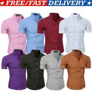 Luxury-Men-039-s-Slim-Fit-Shirt-Short-Sleeve-Stylish-Formal-Casual-T-shirt-Tops
