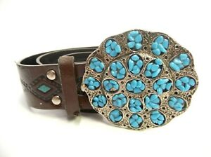 SOUTHWESTERN-44-034-LEATHER-BELT-W-TURQUOISE-ACCENTS-SILVER-TONE-METAL-BELT-BUCKLE
