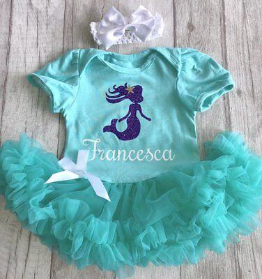 Baby Girl's Personalizzata Sirena Tutu Romper Vestito Principessa Neonato Regalo Amore-