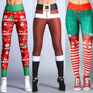 Christmas Running Leggings.Details About Womens Christmas Fitness Yoga Gym Stretchy Leggings Sport Running Pants Trousers
