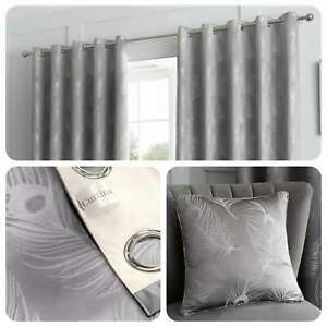 Curtina-FEATHER-Silver-Metallic-Jacquard-Woven-Eyelet-Curtains-amp-Cushions