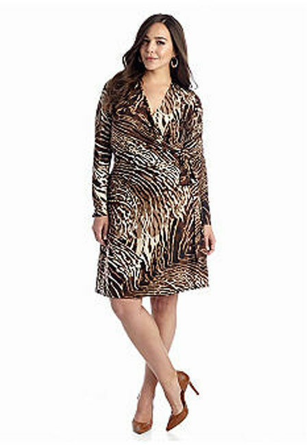 Plus Size 3X Animal Print Jersey Faux-Wrap Dress Slimming Work Dinner Weekend
