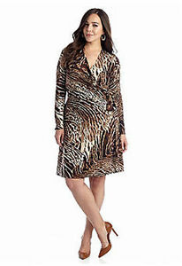 Details about Plus Size 3X Animal Print Jersey Faux-Wrap Dress Slimming  Work Dinner Weekend