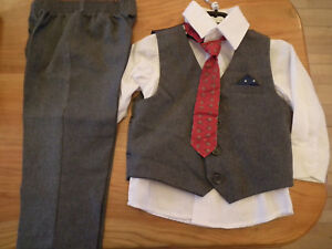 Boy Suit, Paisley Of London, Grey, 3 Pcs + Tie, 12-18 Mth (359)