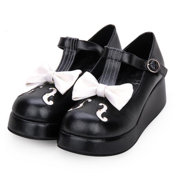 femmes Round Toe Wedge Heels Buckle Strap Platform Sweet Girl Pumps Cute chaussures sz