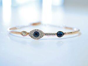 a65768870 Swarovski Blue Duo Evil Eye Bangle Rose Gold 5171991 Authentic Brand ...