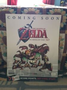 Details about legend of zelda ocarina of time Goma poster gamestop coming  soon rare